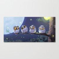 owls Canvas Prints featuring Owls by biboun