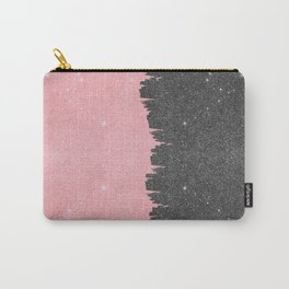Pretty Girly Pink Black Faux Glitter Brushstroke Carry-All Pouch