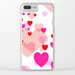 Flying Hearts pink red color Clear iPhone Case