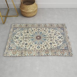 Persia Old Century Authentic Colorful Dusty Blue Gray Grey Vintage Accent Patterns Rug