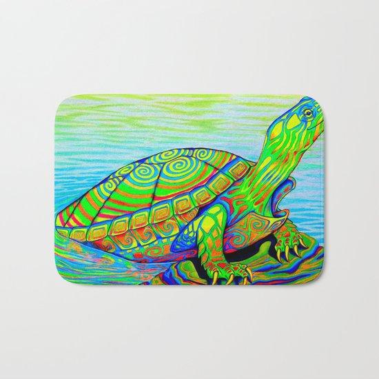 Neon Painted Turtle Bath Mat