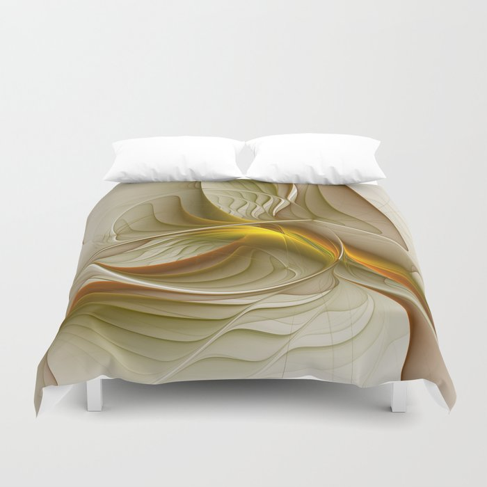 Abstract With Colors Of Precious Metals, Fractal Art Duvet Cover