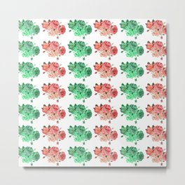Christmas and Spring Floral Stripes Metal Print