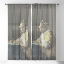 A Lady Writing Oil Painting by Johannes Vermeer Sheer Curtain