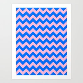 Cotton Candy Pink and Brandeis Blue Horizontal Zigzags Art Print