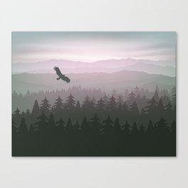 mountain forest in fog and sunrise with stars Canvas Print