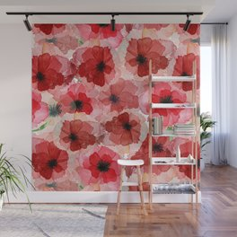 Pressed Poppy Blossom Pattern Wall Mural