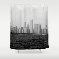 chicago Shower Curtains featuring Chicago by inesmarinho