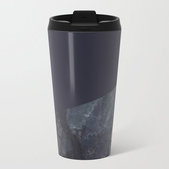 Marble Geometric Navy Blue Indigo Metal Travel Mug