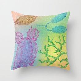 Pink Cactus Blue Pods Throw Pillow