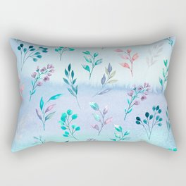 Leaves and flowering branch on blue watercolor background. Rectangular Pillow