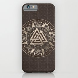 Valknut Symbol  - Brown Leather and gold iPhone Case