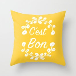 Inspirational Quote French Typography Print in Yellow Throw Pillow
