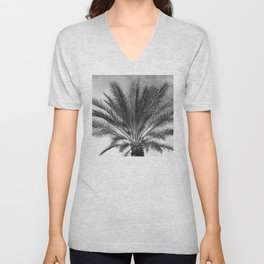 Palm Tree In Noir With Tropical, Brooding Sky Unisex V-Neck