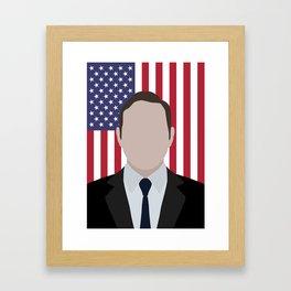 """House of cards Frank Underwood """" flag background """" Framed Art Print"""