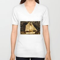 sailboat V-neck T-shirts featuring Golden Sailboat by Michael Moriarty Photography