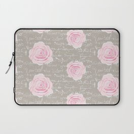 Watercolor roses on Taupe with French script Laptop Sleeve