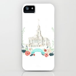 LDS Payson Temple Watercolor painting with flower wreath  iPhone Case