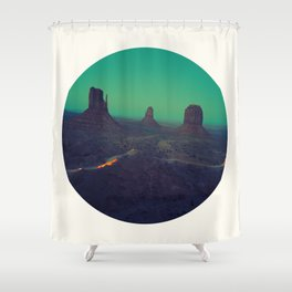 Mid Century Modern Round Circle Photo Graphic Design The Grand Canyon With Green Sunset Sky Shower Curtain
