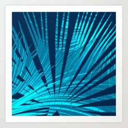 Tropical Blue Fan Palm Leaves Abstract Design Art Print