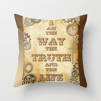 bible verses Throw Pillows featuring Bible Verse Steampunk Way Truth Life by Whimsy and Nonsense