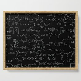 Chalk board mathematics pattern Serving Tray