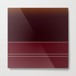 Rich Burgundy Ombre with Gold Stripes Metal Print