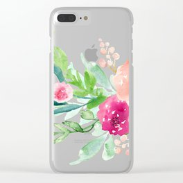 Bouquet OF flowers PINK AND ORANGE - PAINTED - watercolor Clear iPhone Case