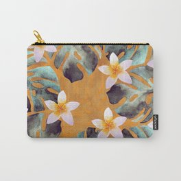 Tropical Monstera Leaf and Plumeria Flower Pattern Carry-All Pouch