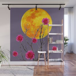 SURREAL FULL MOON & PINK WINTER ROSES Wall Mural