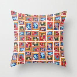 Sideshow Banner Multi-Print Pattern on White Throw Pillow