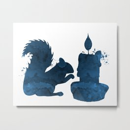Squirrel and a candle Metal Print
