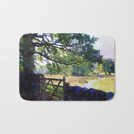 5 barred Gate and Oak in the Park, Lake District, UK. Watercolour Art. Bath Mat
