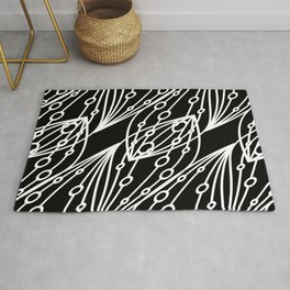 White molecular helix with diagonal circles on a black background. Rug