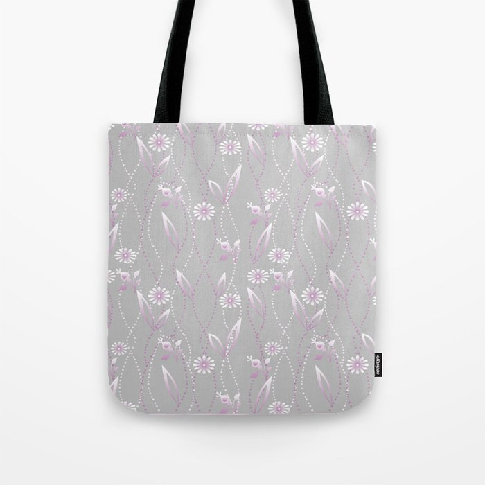 Gray lilac floral pattern . Tote Bag