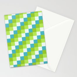 Apples and Pears - Pixelated Pattern with blues and green  Stationery Cards