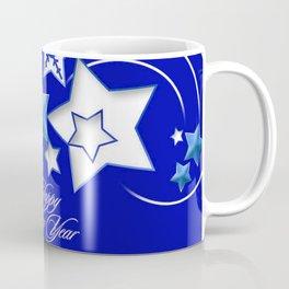 Teal and Blue Happy New Year Shooting Stars  Coffee Mug
