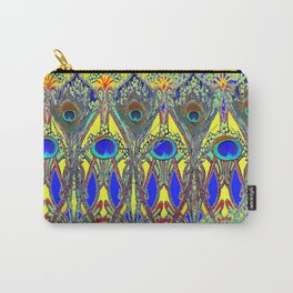 Decorative Blue Peacock Art Nouveau Themed Design Carry-All Pouch
