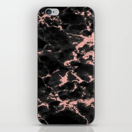 Beautiful Black marble with Glittery Rose Gold Veins iPhone Skin