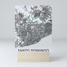 Santo Domingo, Dominican Republic, White, City, Map Mini Art Print