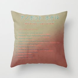 The Nanobot Hotel Room Service Pamphlet Throw Pillow