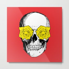 Skull and Roses | Red and Yellow Metal Print