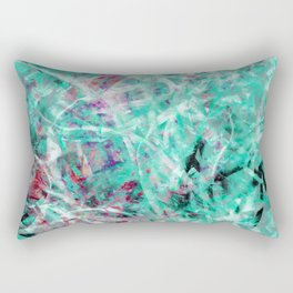 Abstract Expressionist Dance in Green, White, Red and Black Rectangular Pillow