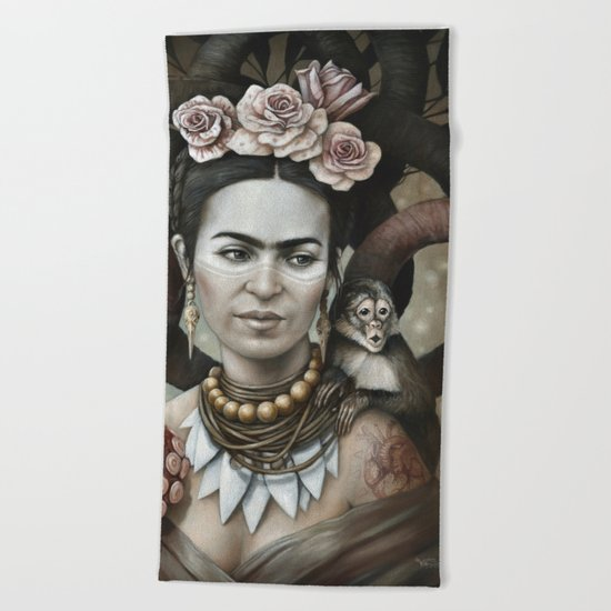 Hommage à Frida Kahlo 3 Beach Towel
