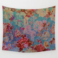 vintage floral Wall Tapestries featuring vintage floral by clemm