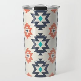 Abstract Contemporary Geometric Orange and Blue Retro Pattern 06 Travel Mug