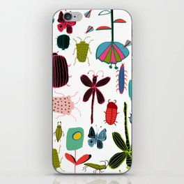 Insect watercolor white iPhone Skin