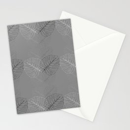Monstera Palm Leaves in Line work | sketch in black and white colors Stationery Cards