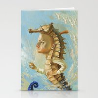 sea horse Stationery Cards featuring Sea horse by Nataliya Derevyanko