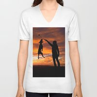workout V-neck T-shirts featuring Sunset Workout by Sandy Broenimann